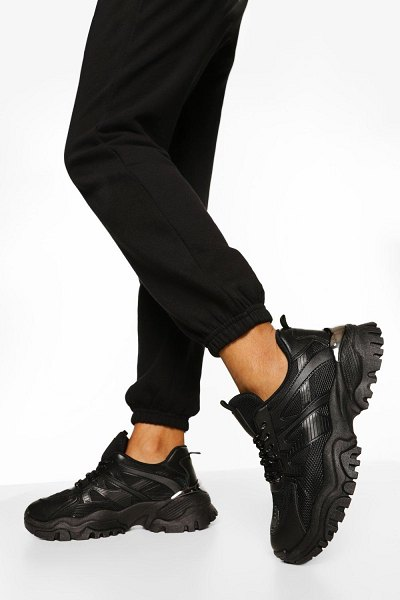 Boohoo Chunky Cleated Sole Sneakers in black