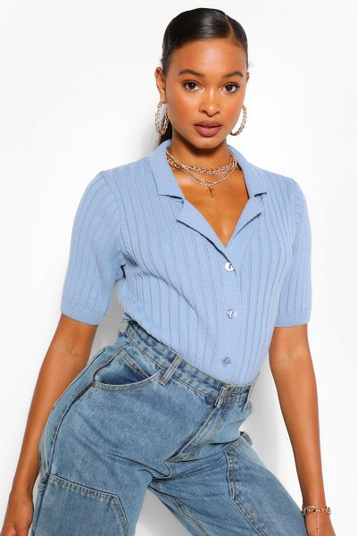 Boohoo Chunky Rib Collar Short Sleeved Cardigan in blue