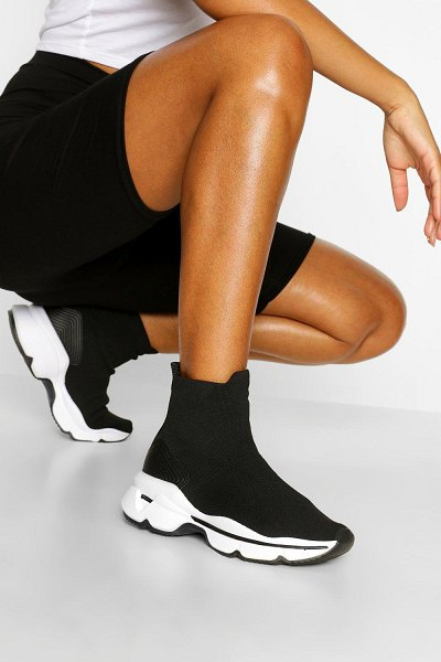 Boohoo Chunky Sole Knitted Sock Trainer in black