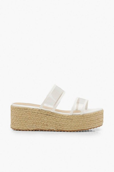 Boohoo Clear Double Strap Espadrille Flatforms in white
