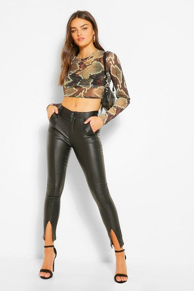 Boohoo Coated Pu Trouser With Split Front Hem in black