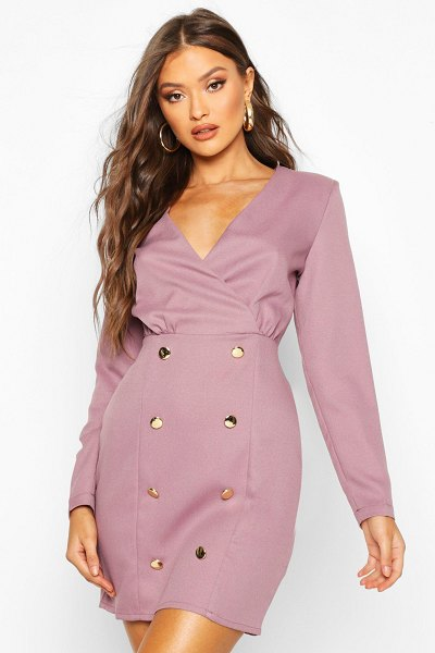 Boohoo Collarless Blazer Dress With Button Detail in mauve