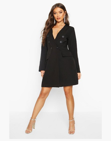 Boohoo Collarless Double Breasted Blazer Dress in black