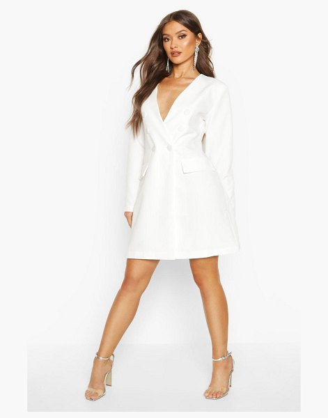 Boohoo Collarless Double Breasted Blazer Dress in ivory
