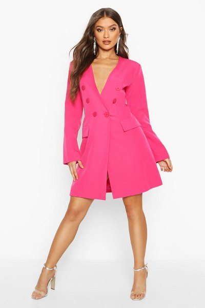 Boohoo Collarless Double Breasted Blazer Dress in fushia
