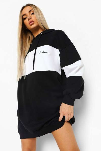 Boohoo Colour Block Hoodie Dress in black