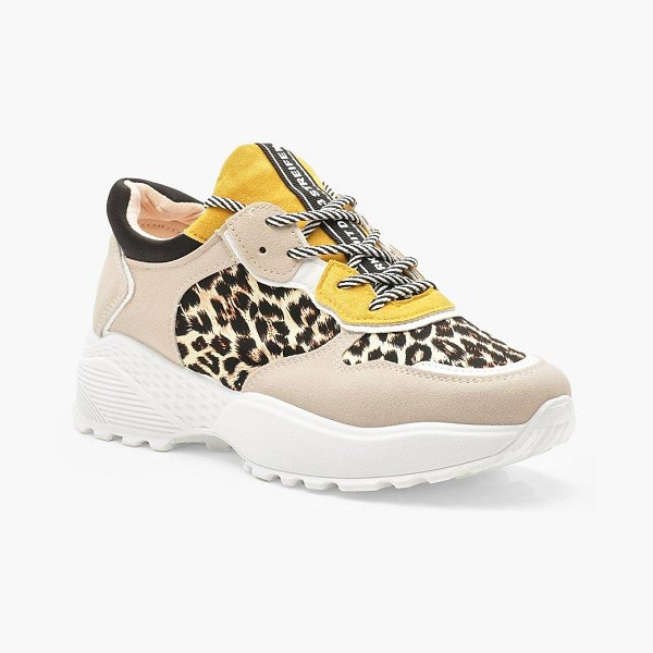 Boohoo Colour Block Leopard Print Chunky Trainers in grey