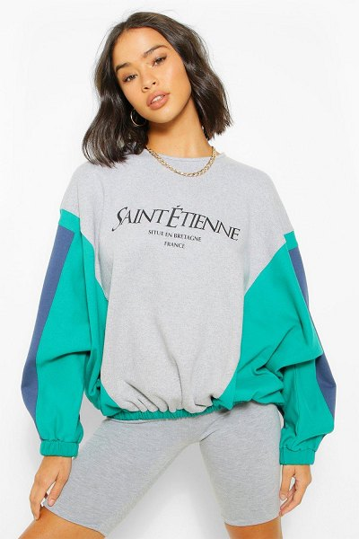 Boohoo Colour Block Slogan Printed Sweatshirter in grey marl