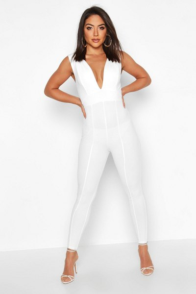 Boohoo Contoured Plunge Jumpsuit in white