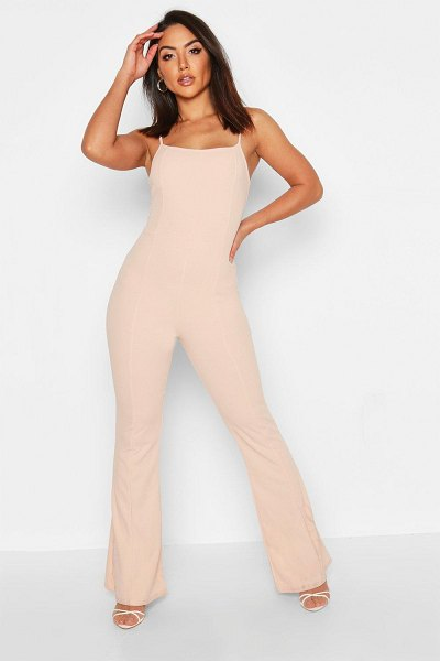 Boohoo Contoured Square Neck Flare Jumpsuit in nude