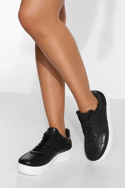 Boohoo Contrast Panel Platform Trainer in black