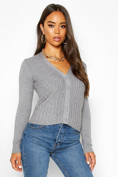 Boohoo Contrast Rib Button Through Cardigan in grey marl