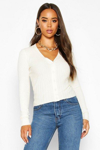Boohoo Contrast Rib Button Through Cardigan in stone