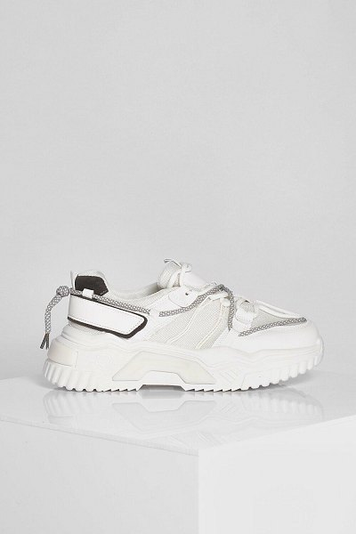 Boohoo Contrast Sole Chunky Trainer in white