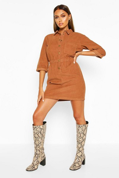 Boohoo Cord Button Dress in tan