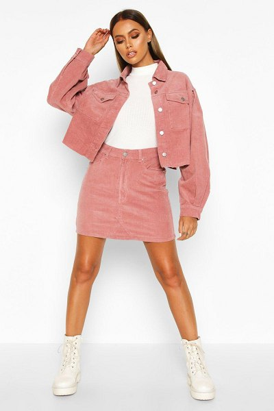Boohoo Cord Denim Mini Skirt in dusky pink