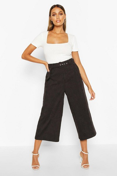 Boohoo Cord Self Belt Culottes in black