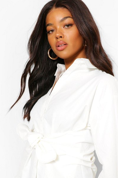Boohoo Cotton Mix Tie Front Long Shirt in white
