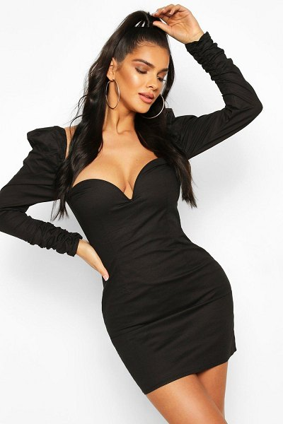Boohoo Puff Sleeve Mini Dress in black