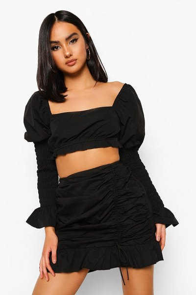 Boohoo Cotton Ruched Side Frill Mini Skirt in black