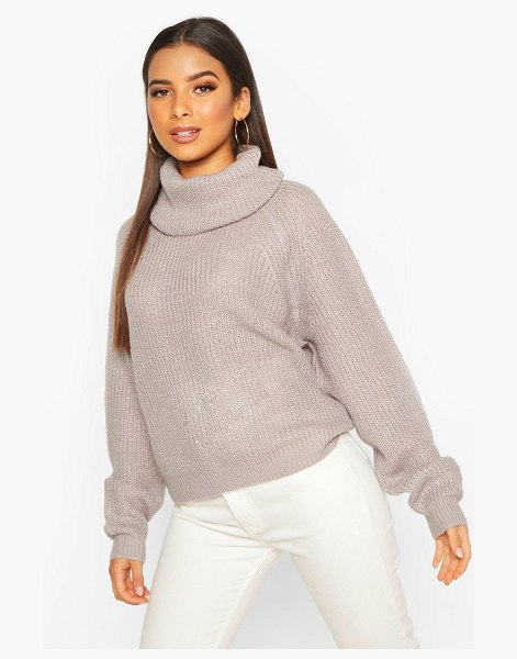 Boohoo Cowl Roll Neck Oversized sweater in crystal