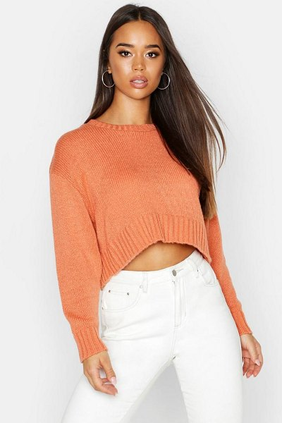 Boohoo Crew Neck Boxy Crop Sweater in apricot