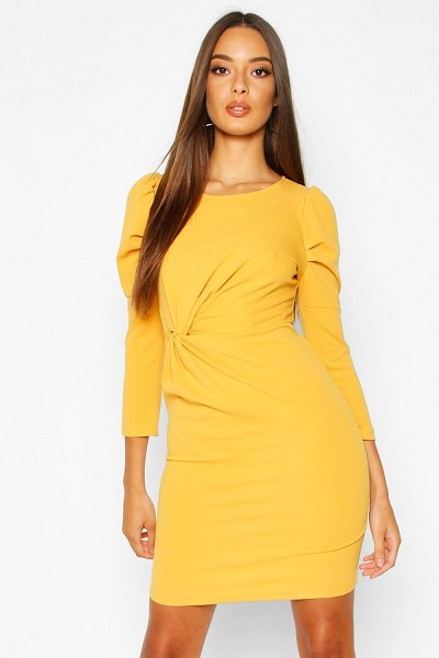Boohoo Crew Neck Knot Front Puff Sleeve Shift Dress in mustard