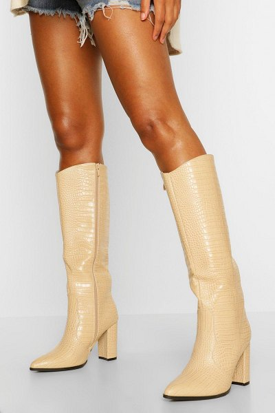 Boohoo Croc Block Heel Knee High Boots in beige