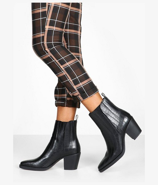 Boohoo Croc Block Heel Square Toe Western Boots in black