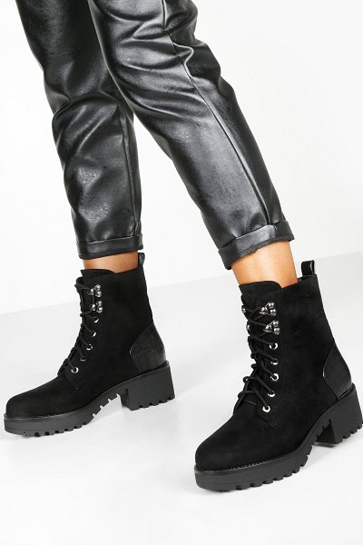 Boohoo Croc Panel Cleated Sole Hiker Boots in black