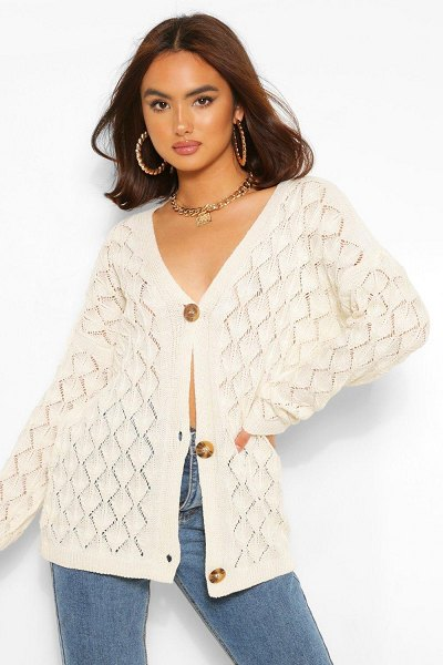 Boohoo Crochet Midi Cardigan in cream