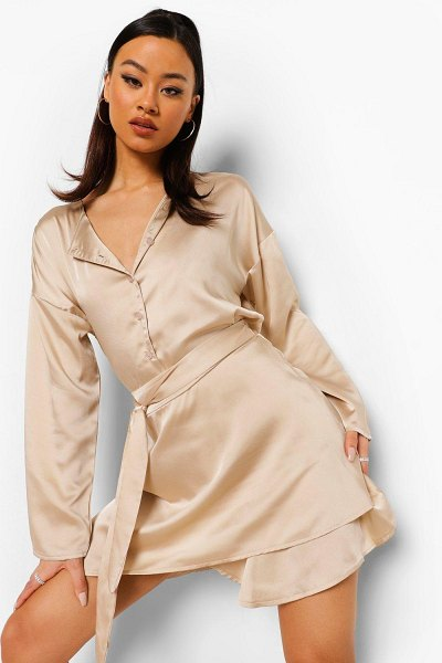 Boohoo Crop Shirt & Tie Waist Skirt in nude