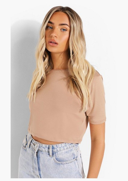 Boohoo Cropped Short Sleeve T Shirt in stone