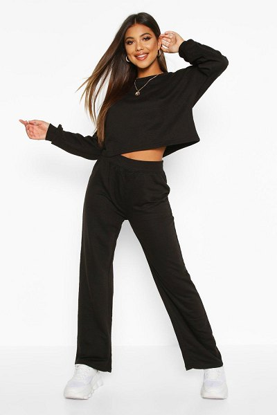 Boohoo Cropped Sweat & Wide Leg Trouser Co-ord in black