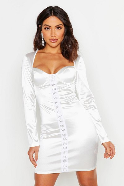 Boohoo Cup Detail Stretch Satin Bodycon Mini Dress in white