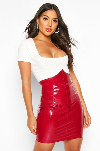 Boohoo Deep Waistband Vinyl Mini Skirt in berry