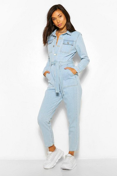 Boohoo Denim Pocket Belted Roll Hem Boilersuit in light blue