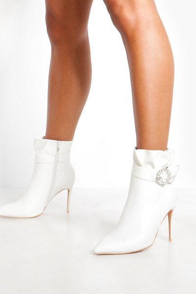 Boohoo Diamante Buckle Shoe Boots in white