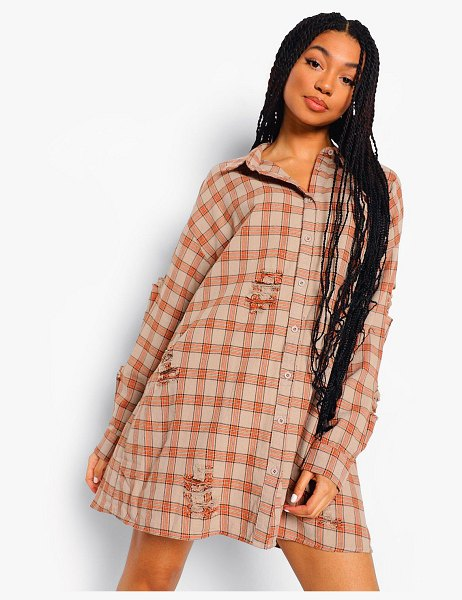 Boohoo Distressed Oversized Shirt Dress in grey
