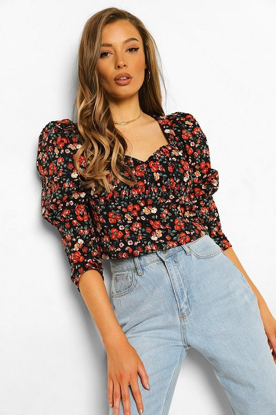 Boohoo Ditsy Floral Corset Top in black