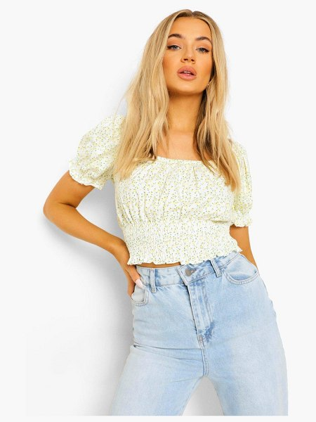 Boohoo Ditsy Floral Puff Sleeve Crop Top in yellow