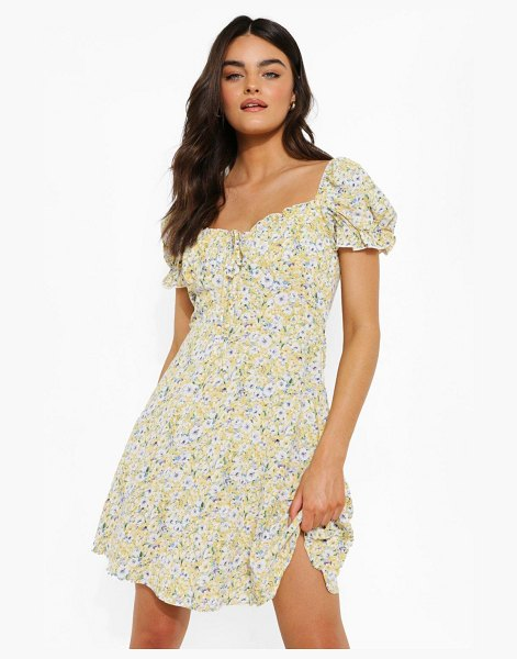 Boohoo Ditsy Floral Puff Sleeve Skater Dress in yellow