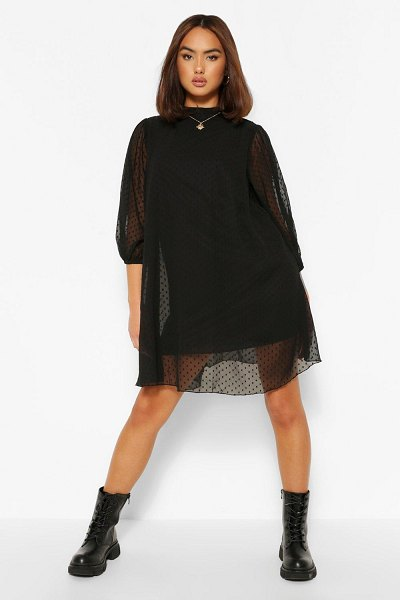 Boohoo Dobby Mesh High Neck Puff Sleeve Smock Dress in black