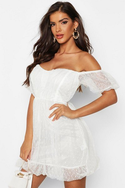 Boohoo Dobby Mesh Sweetheart Neck Skater Dress in white