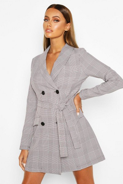 Boohoo Dog Tooth flannel Double Breasted Belted Blazer Dress in grey