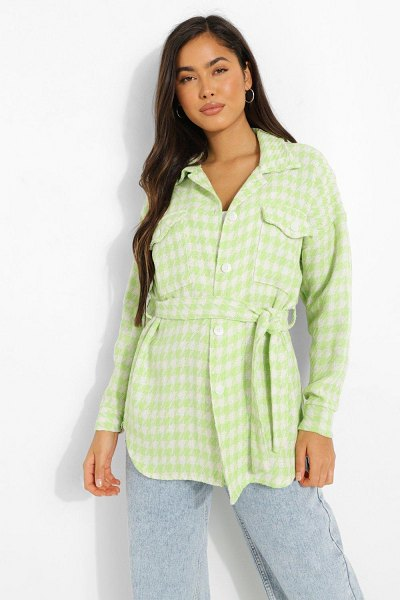 Boohoo Dogtooth Belted Shacket in lime