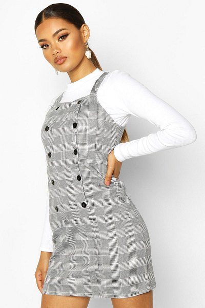 Boohoo Dogtooth Button Pinafore Dress in grey