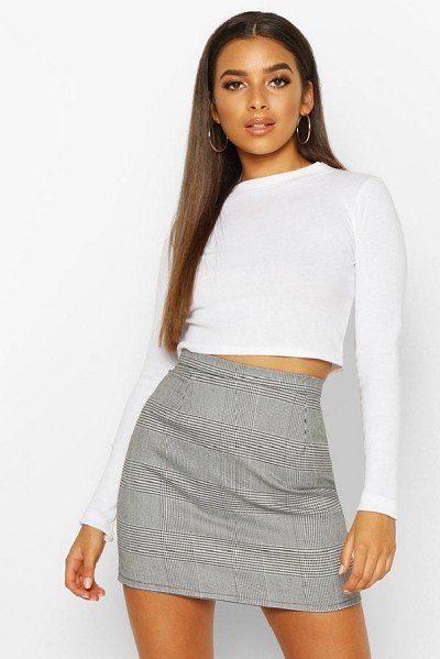 Boohoo Dogtooth flannel A Line Mini Skirt in black