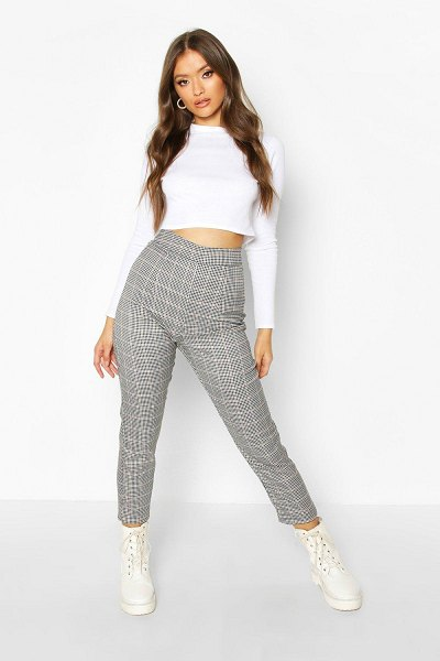Boohoo Dogtooth flannel Slim Fit Woven Trouser in black
