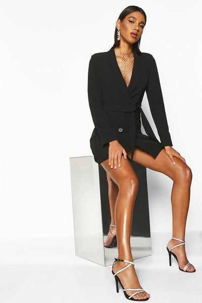 Boohoo Double Breasted Belted Blazer Dress in black